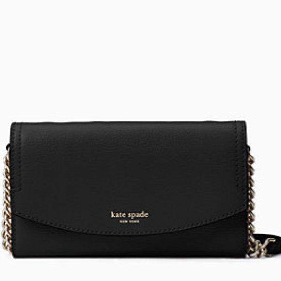 New Kate Spade Eva Wallet on Chain Black/Gold